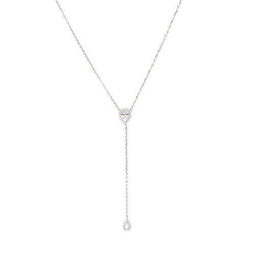 "espere CZ Pear Drop Lariat Necklace 16"" with 2.75"" Y Drop Adjustable, 3 Colors Available"