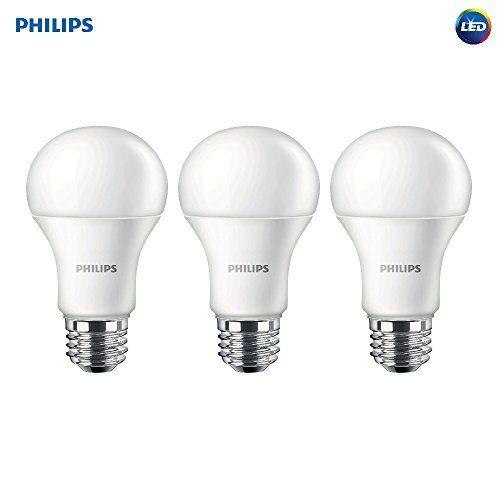 Philips LED Non-Dimmable A19 Frosted Light Bulb: 1500-Lumen, 2700-Kelvin, 14.5-Watt 100-Watt Equivalent, E26 Medium Screw Base, Soft White, 3-Pack