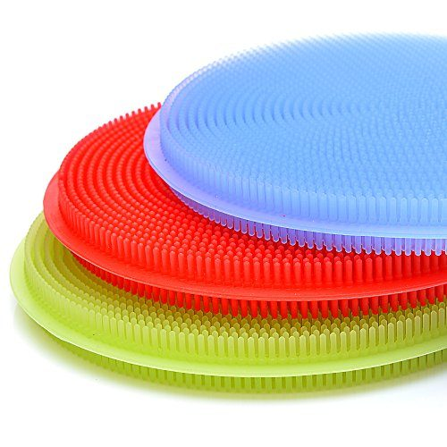 SimplyNonSlip Silicone Sponge and Scrubber | Antibacterial Silicone Kitchen Sponge for Dishes & Cleaning | Dishwasher Safe and Insanely Dense/Durable | 3 Included Heavy Duty Kitchen Scrapers | 6 Pack