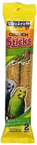Vitakraft Parakeet Whole Grains & Honey Treat Sticks 2 Pack, 2.11 Ounce