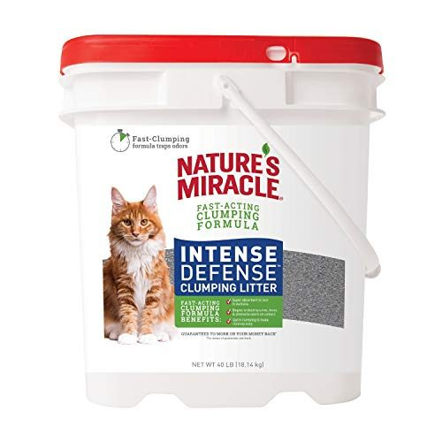 Nature's Miracle P-98134 Intense Defense Clumping Litter, 40 Pounds, Pail, Super Absorbent Fast-Clumping Formula, Dust Free