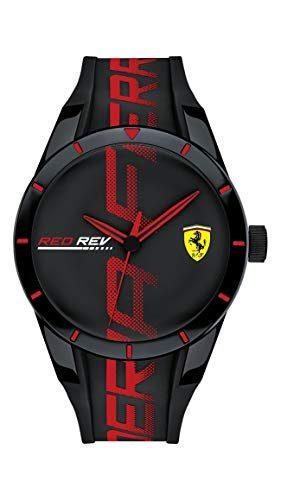 Ferrari Men's RedRev Quartz Plastic and Silicone Strap Casual Watch, Color: Black Model: 830614