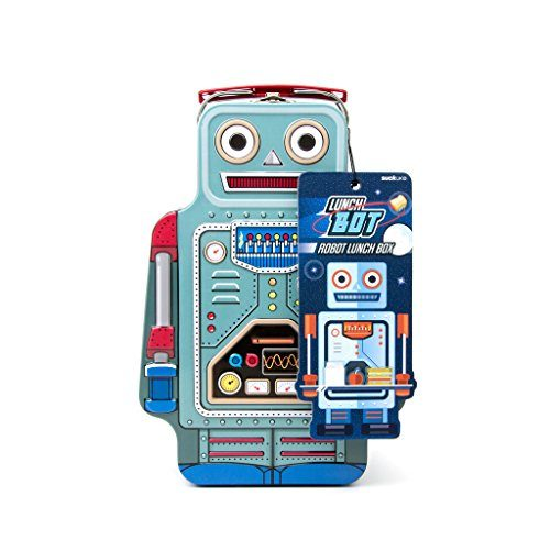 Suck UK SK LUNCHBOT1 Robot Lunch Box | TIN | Toy Storage | Bedroom Decor & Organization |, 9.6 x 3.3 x 6.4 in in, Multicolored