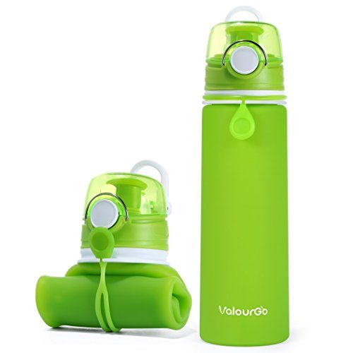 Valourgo Collapsible Water Bottle, Silicone Foldable with Leak Proof Valve BPA Free, 21 oz
