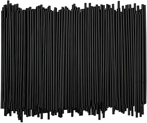 5 Inch Sip Stir Stick Black, 1,000 - Disposable Plastic Coffee Stirrer Straw