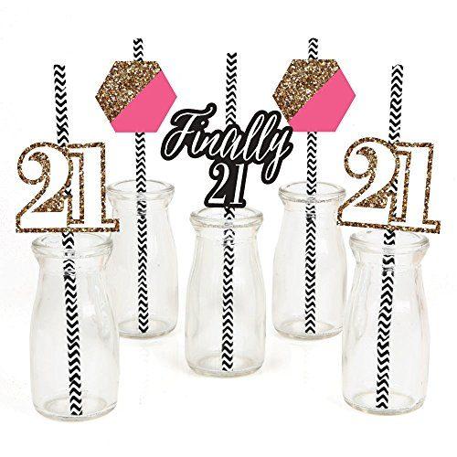 Finally 21 Girl Paper Straw Decor - Set of 24 - 21st Birthday Party Striped Decorative Straws